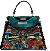 Fendi Peekaboo Medium Printed Velvet Tote - Teal