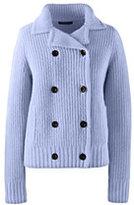 Lands' End Women's Cozy Shaker Sweater Jacket-Soft Sky Blue