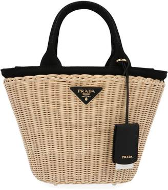 Prada Straw Woven Bucket Bag
