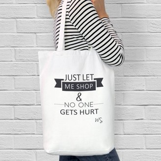 """Monogram Online Just Let Me Shop Custom Cotton Tote Bag, Sizes 11"""" x 14"""" and 14.5"""" x 18"""""""