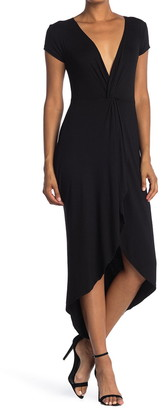 Velvet Torch Twisted Front High/Low Midi Dress