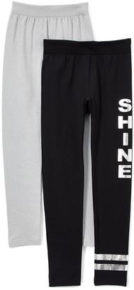One Step Up Girls' Leggings BLACK/GRAY - Gray & Black Stripe 'Shine' Fleece-Lined Leggings - Girls