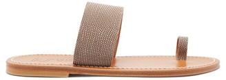 K. Jacques Nagoya Lizard-print Leather Slides - Womens - Beige