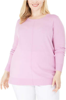Karen Scott Plus Size Scoop-Neck Seamed Sweater