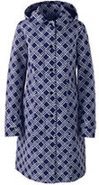 Lands' End Women's Petite Coastal Rain Coat-Deep Sea Lattice