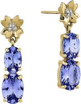 FINE JEWELRY Genuine Tanzanite and Diamond-Accent 14K Yellow Gold Dangle Earrings