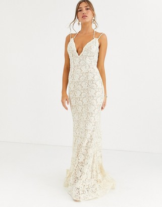Jovani lace strapless fishtail dress-Beige