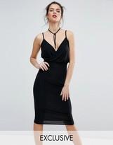 Club L Wrap Cami Midi Dress With Bolo Detail