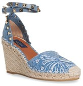 Valentino Women's 'Rockstud' Embroidered Espadrille Wedge