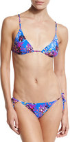Etro Floral-Print Tie-Side String Bikini Set, Blue Multi