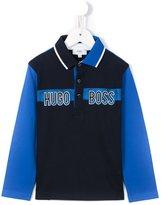 Boss Kids logo print polo shirt
