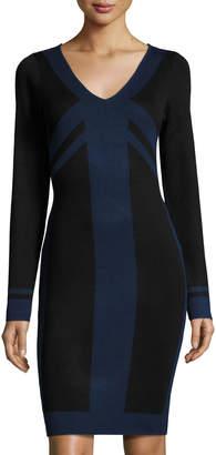 Max Studio Colorblock Long-Sleeve Sweaterdress