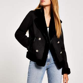 River Island Black faux fur crested button aviator jacket