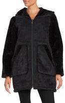 Gallery Hooded Faux Sherling Walker Coat