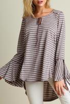 Umgee USA Striped Bell Sleeve Top