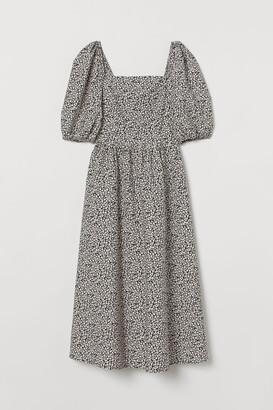 H&M Puff-sleeved Cotton Dress - Gray