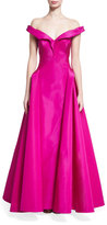Zac Posen Off-the-Shoulder Silk Taffeta Gown, Violet