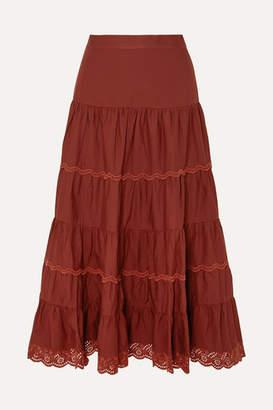 Ulla Johnson Fleet Tiered Broderie Anglaise-trimmed Cotton-poplin Midi Skirt - Burgundy