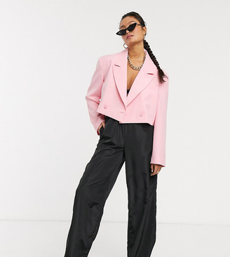 Collusion cropped blazer in pink