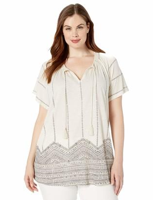 Lucky Brand Women's Plus Size GEO Print Smocked TOP