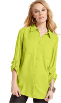 Style&Co. Top, Roll-Tab Sleeve Button-Down Shirt