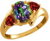 Gem Stone King 2.28 Ct Oval Green Mystic Topaz and Red Garnet 18k Yellow Gold Ring