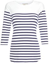 JoJo Maman Bebe Breton 3/4 Sleeve Top - Navy White Stripe-S