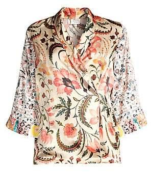 HEMANT AND NANDITA Women's Sakura Silk Kimono Top