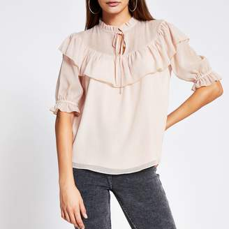 River Island Womens Pink ruffle short sleeve sheer blouse