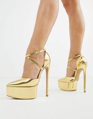 Asos Design DESIGN Perplex pointed platform stiletto heels in liquid gold