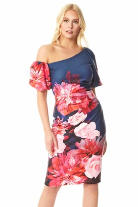 Roman Originals Women Puff Sleeve Floral Scuba Dress - Ladies Occasion Party Formal Event Special Occasion Summer Wedding Guest Ascot Races Days Bodycon Knee Length Dress - Fuchsia - Size 16