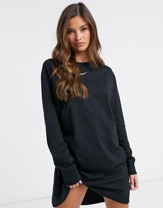 Nike mini swoosh long sleeve t-shirt dress in black
