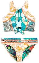 Maaji Girls' Reversible Mixed-Print 2-Piece Zip-Up Swimsuit - Big Kid