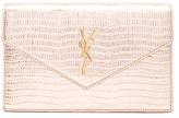 Saint Laurent Monogramme Mock Lizard Envelope Chain Wallet