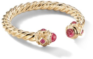David Yurman Renaissance Open Ring In 18K Gold With Rubies