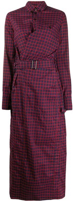 A.F.Vandevorst belted check maxi shirt dress