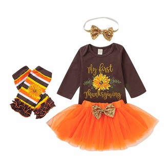 Qinngsha Newborn Baby Girl Clothing My 1st Thanksgiving Exquisite Sunflower Sequins Fashion Design Jumpsuit +Leg Warmer+Headband+Ballet Skirt Set(4PCS) (Brown 9-12 Months)