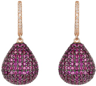 Latelita Valerie Pear Drop Gemstone Earring Rosegold Ruby