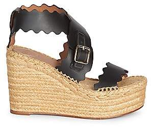 Chloé Women's Lauren Leather Espadrille Platform Wedge Sandals