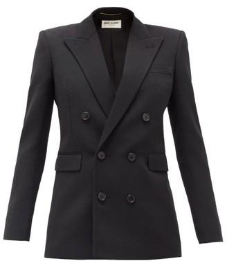 Saint Laurent Double-breasted Wool-faille Blazer - Black