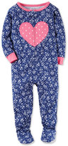 Carter's 1-Pc. Floral-Print Heart Footed Pajamas, Baby Girls (0-24 months)