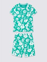 Marks and Spencer Cotton Floral Print Short Pyjamas with Stretch (1-16 Years)