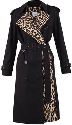 Burberry Leopard Print Detail Trench Coat