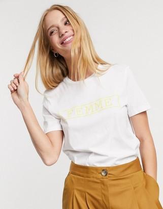 Selected ann short sleeve 'femme' slogan t-shirt in white