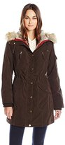 1 Madison Women's Bonded Poly Parka with Faux Fur Trimmed Hood