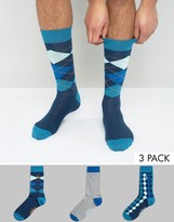 Original Penguin 3 Pack Socks Argyle Diamond