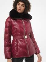 MICHAEL Michael Kors Faux Fur-Trim Chevron-Quilted Belted Jacket