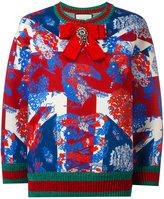 Gucci Union Jack lurex trim sweatshirt - women - Cotton/Viscose/Metallic Fibre/Spandex/Elastane - XS