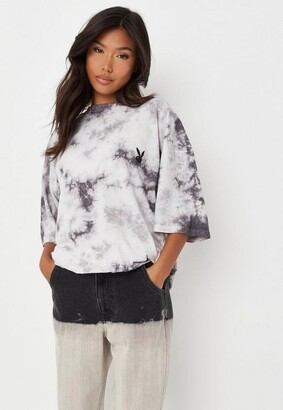 Missguided Playboy X Charcoal Tie Dye Oversized T Shirt Dress