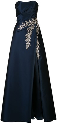 Carolina Herrera Embellished Plunge Neck Gown